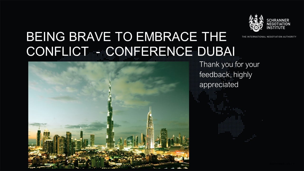 Being brave to embrace the conflict - Conference Dubai
